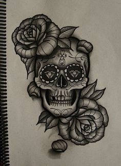skull and roses by FraH.deviantart.com on @deviantART