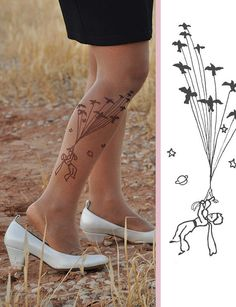 SALE The Little Prince Tattoo Tights size S / M / L por TightsShop