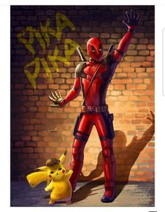 Deadpool Pikachu, Deadpool Art, Deadpool Cosplay, Pikachu Art, Deadpool Pictures, Comic Pictures, Cute Pokemon Wallpaper, Cute Cartoon Wallpapers, Gaming Wallpapers