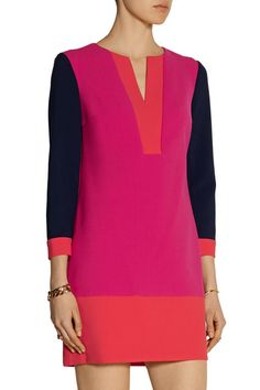 Bright-orange, fuchsia and midnight-blue stretch-crepe Concealed hook and zip fastening at side 63% polyester, 27% viscose, 7% cotton, 3% elastane Dry clean Designer color: Tango/ Fuchsia Jewel/ Midnight