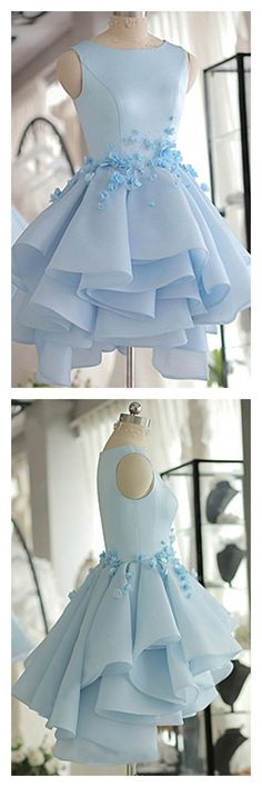 Sky Blue Layers Applique Short Homecoming Dresses Party Dresses Prom Dresses #dressesprom