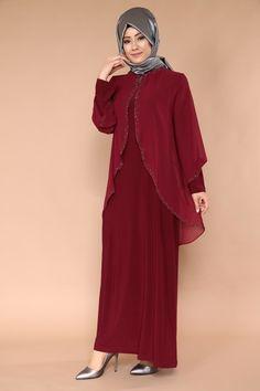 Üstü Şifon Taşlı Elbise SMT1007 Bordo - Moda Selvim