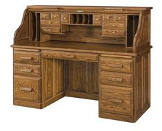 Amish Classic Heritage Rolltop Desk The beauty of a roll top desk is captured in every detail! Lots of compartments, cubbies, drawers and slots along with a signature tambour door to close it up quickly. Available in 3 sizes as well as numerous wood types and finish colors.