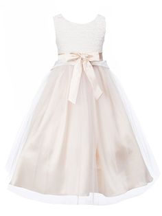 Amazon.com: DressForLess Elegant Lace Bodice with Tulle Skirt Flower Girl Dress: Clothing