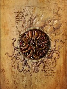Lovecraft art by Francois Launet. Tentacles and eyes.