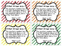 "Free: Place Value ""Mystery"" Number Cards-"