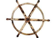 19th-century white-painted cast iron wheel from a ship's engine room.