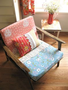 love this idea for covering the cushions on an old chair - i have the old chair, just need some vintage fabric!