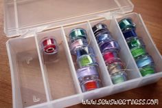 Tame Your Bobbins - Sew Sweetness with plastic tubing pieces cut to size. Sewing Lessons, Sewing Hacks, Sewing Tutorials, Sewing Crafts, Sewing Projects, Sewing Tips, Sewing Ideas, Bags Sewing, Sewing Notions