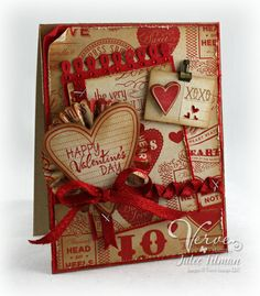 I love using this color scheme & layering. Cute vintage valentine look. :) (Many cute card ideas for different occasions on this site.)