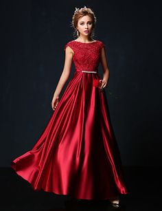 Formal Evening Dress - Ruby/Burgundy/Champagne A-line Jewel Floor-length Lace/Charmeuse 2015 – $149.99