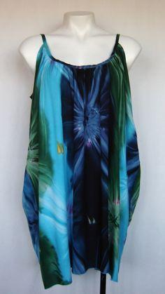 Plus Size Starburst Tie Dye Boho Shoestring Strap Top very popular top