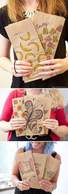 Creative Lunch Bag Decorating Ideas with Hallmark artists | thinkmakeshareblo...
