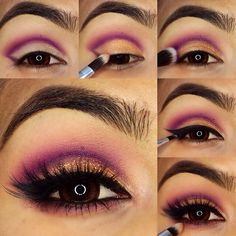Purple And Gold Cut Crease