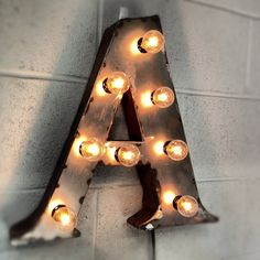 vintage marquee lights Industrial Lighting Letter Steel Marquee Box Letter on Etsy, $174.00