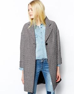 Enlarge Helene Berman Single Button Swing Coat in Mixed Wool