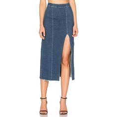 GRLFRND x REVOLVE Amber Long Skirt (9.000 RUB) ❤ liked on Polyvore featuring skirts, floor length skirts, slit skirt, long blue skirt, high-waist skirt and front slit maxi skirt