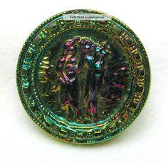 Antique Black Glass Button W/ Carnival Luster French Fops Romantic Scene Button