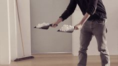 {GIF} Each ball weighs differently, causing each one to bounce to a specific height, and when precisely placed in the dust pans and thrown down… EVERY TIME I SEE THIS I STARE IN AMAZEMENT.... One of the best gifs ever!