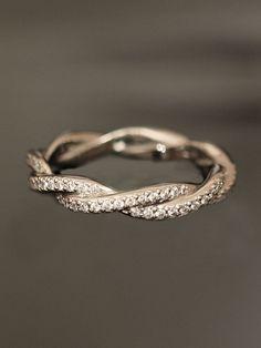 Weddbook ♥ Superbe bande droite Eternity Diamond Ring main - superbe! ~ Platinum Double Band éternité Twist. Unique anneau de mariage de diamant # # éternité de diamant # # anneau de bande ♥