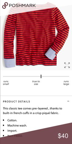 J crew boatneck tee with built in cuffs New with tag.  No trades.  Price firm unless bundled. J. Crew Tops Tees - Long Sleeve