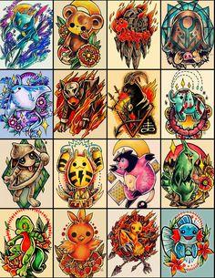 160 desenhos de personagens Pokémon inspirados no universo das tatuagens, por…
