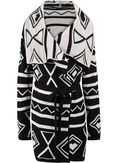 Cute Black and White Geometric Belted Duster Sweater Coat