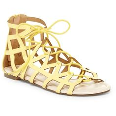 Chase & Chloe Vince Gladiator Sandal ($23) ❤ liked on Polyvore featuring shoes, sandals, yellow, roman sandals, lace up sandals, yellow sandals, gladiator sandals and open toe gladiator sandals