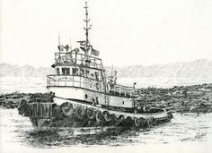 Martha Foss Log Assist Painting - Martha Foss Log Assist Fine Art Print Cartoon Drawings, Pencil Drawings, Ocean Sailing, Scale Model Ships, Woodcut Art, Scribble Art, Adventure Of The Seas, Tug Boats, Ship Art