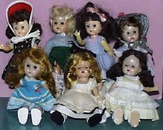 Ginny dolls from the 1950's; my best friend, Kathleen Dutton and I played with our dolls together every weekend!