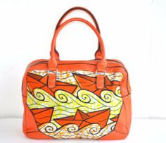 Orange African Ankara Fabric Tote Bag With Leather Straps