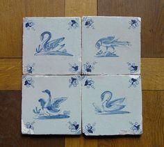 Antique RARE Set of 4 x Dutch Delft Tile Swan Birds Circa 1625   eBay