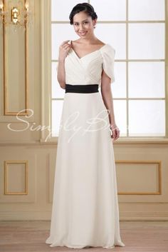 Wedding Dress by SimplyBridal. The sash on this dress is removable.This ethereal chiffon gown is beautifully ruched at the bodice. The V neckline and A-line silhouette is great for all body shapes and sizes. This is a great choice for a classic banquet hall ceremony in the fall and win. USD $169.99