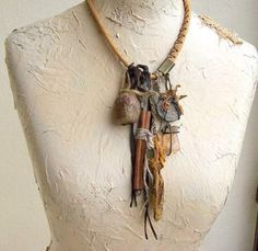 Boele - Tribal Necklace Leather Amulet Talisman Wearable Art OOAK Agate Succinic Mixed Media Assemblage Jewelry