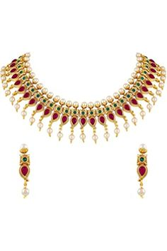 Buy Zaveri Pearls Gold Tone Traditional Temple Choker Necklace Set For Women-ZPFK8983 at Amazon.in Women's Jewelry Sets, Bridal Jewelry Sets, Jewelry Necklaces, Diamond Necklace Set, Pearl Necklace Set, Pearl Necklace Designs, Traditional Earrings, Temple Jewellery, Gold Jewellery
