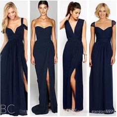 2016 New Fashion Dark Navy Blue Chiffon Beach Bridesmaid Dresses with Split Different Style Junior Bridesmaids Dress Custom Make Cheap Gown