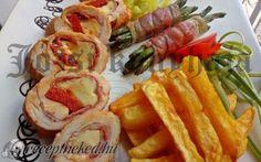 Göngyölt csirkemell húsimádóknak Sushi, Shrimp, Bacon, Meat, Chicken, Ethnic Recipes, Food, Beef, Meal