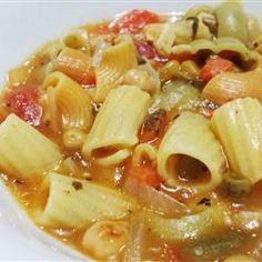"""Garbanzo Tomato Pasta Soup Allrecipes.com   ---""""A VERY easy vegetarian meal in a bowl. The combination of garbanzo beans (chick peas) with pasta creates the complex proteins a vegetarian needs. Very palatable for the garlic and tomato lover."""""""