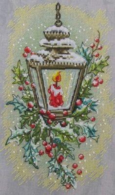 Новогодний фонарь, схема для вышивки