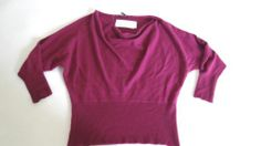NWT EILEEN FISHER COWL NECK FINE GAUGE CASHMERE 100% CASHMERE PURPLE RIBBED $338