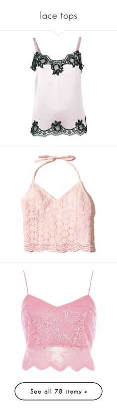 """""""lace tops"""" by rvazquez ❤ liked on Polyvore featuring tops, pink cami, lace insert cami, pink camisole, stretch camisole, crop top, light pink lace, lace v neck top, v neck crop top and cropped tops"""