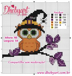Dhebyart: Corujas Halloween Cross Stitch Bird, Cross Stitch Patterns, Mickey Mouse, Halloween, Perler Beads, Birds, Comics, Autumn, Fall