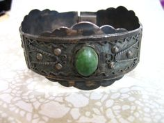 Vintage Sterling Cuff Link Bracelet with Green by charmingellie, $59.00