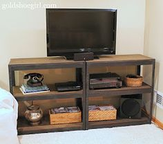 DIY industrial media tv from heavy duty storage bookcases. Just like the ones I used in my old job!