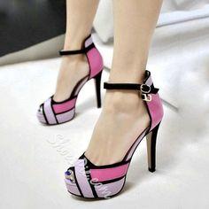 Shoespie Chic Contrast Color Geometric Printed Platform Heels