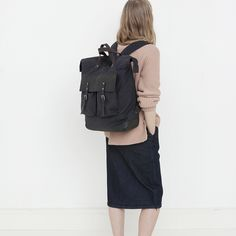Ally Capellino | Igor Waxed Cotton Rucksack in Navy with Black Leather - All Mens - Men