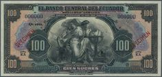 """Banknotes - America, Michel Pick 88s - Ecuador: 100 Sucres ND (1928-36) Specimen P. 88s with two red """"Specimen"""" overprints, 2 cancellation holes and zero serial numbers. A rarely seen issue in great original condition: UNC.  Dealer Gärtner Christoph Auktionshaus  Auction Starting Price: 400.00 EUR"""