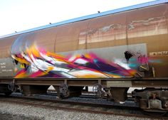 awesome abstract freight train graffiti
