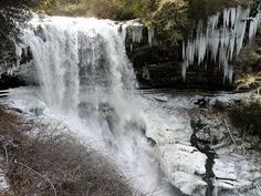 """(frozen) Dry Falls  you can walk behind the falls (when not icy) :) really neat place to go to; one of my """"power places"""" [Dry Falls, Hwy 64 between Franklin and Highlands, NC]"""