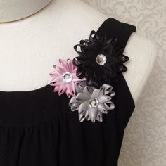 Flower Pin - Satin Flower Brooch Pin in Black, Rose Pink and Gray by PetalPerceptions